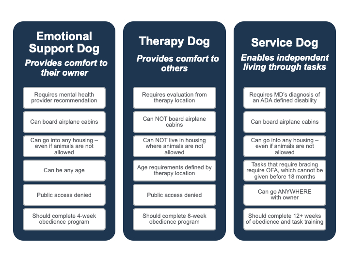 Chart showing dog training options for service dogs, emotional support dogs, and therapy dogs, which are all programs offered by the puppy training and dog boarding specialists at Happy Pup Manor.